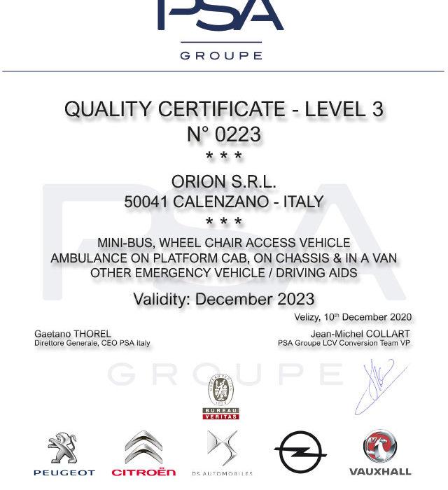 Allestitori Certificati PSA – 3° livello
